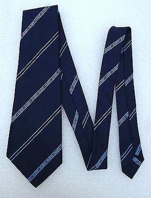 MARR kipper tie Vintage 1960s with corporate logo Navy blue Diagonal stripe Wide